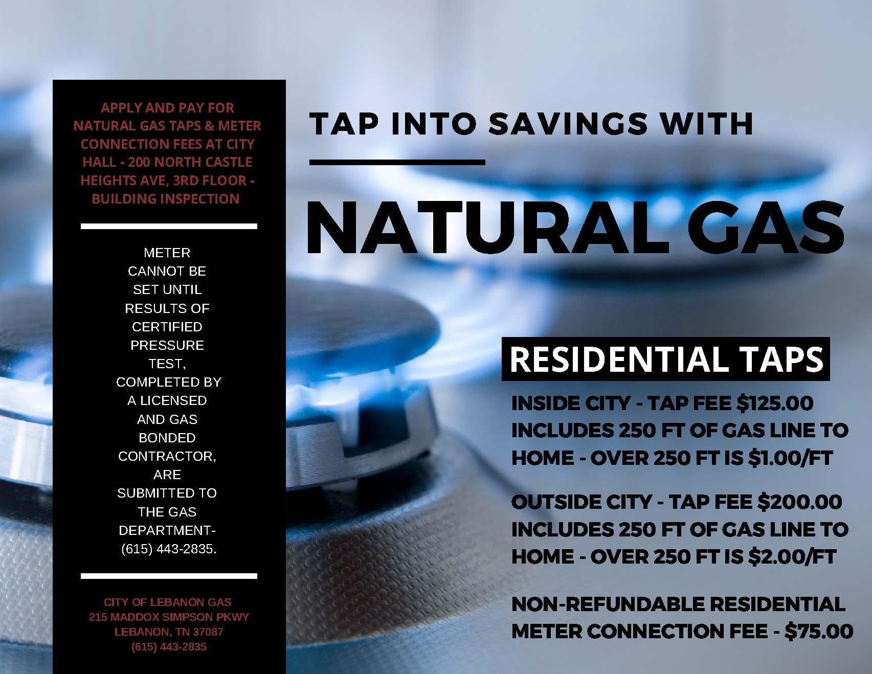 RESIDENTIAL TAP INFORMATION