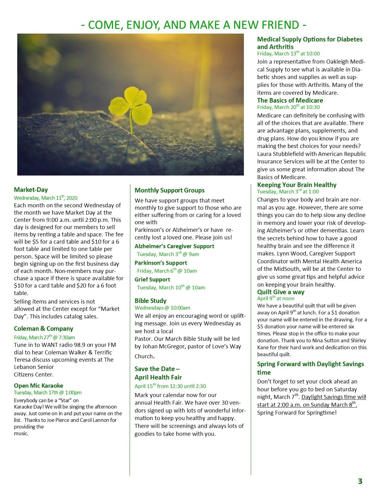 March Newsletter Pg 3 activities