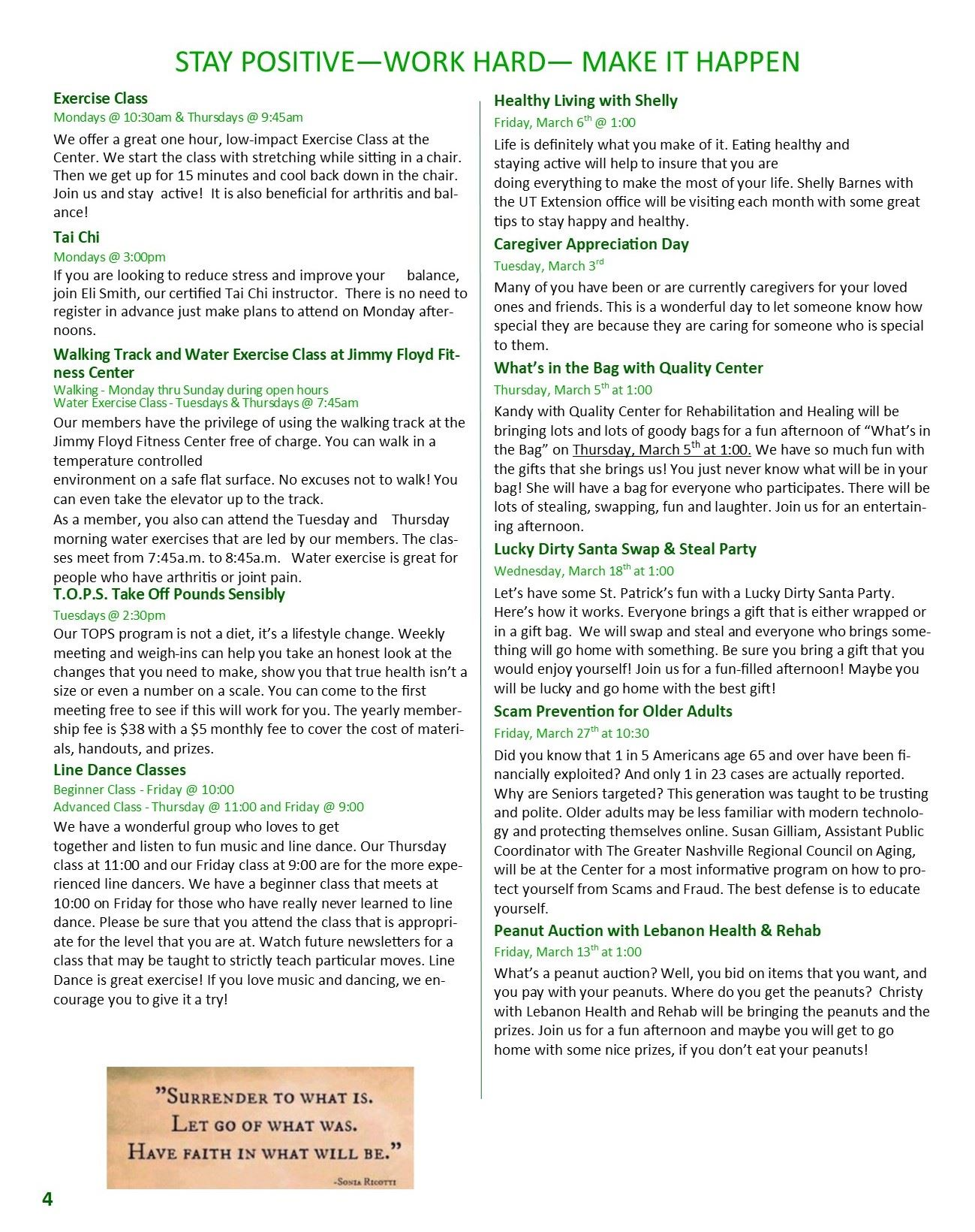 March Newsletter Pg 4 activities