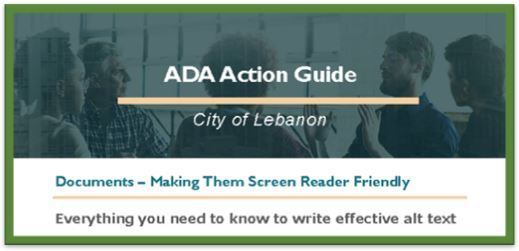 ADA Action Guide - Making Documents Screen Reader Friendly Document Opens in new window